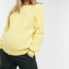黄色のピースマタニティニットジャンパー トップス レディース 女性 インポートブランド 小さいサイズから大きいサイズまで