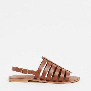 エイソス ASOS asos ASOSDESIGNフォートレザーグラディエーターサンダル(タン) 靴 レディース 女性 インポートブランド 小さいサイズから大きいサイズまで