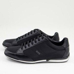 ヒューゴボス BOSS hugoboss HUGO BOSS BOSS SaturnLowpレザーロゴトレーナー(ブラック) 靴 メンズ 男性 インポートブランド 小さいサイズから大きいサイズまで