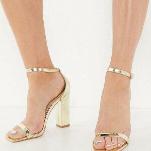 グラマラス Glamorous ゴールドミラーのブロックヒールのグラマラスサンダル 靴 レディース 女性 インポートブランド 小さいサイズから大きいサイズまで