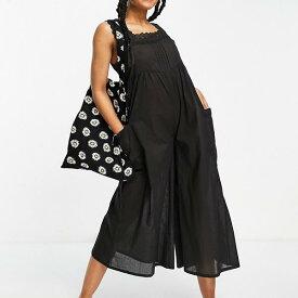 エイソス ASOS asos ASOSDESIGNブロデリートリムジャンプスーツブラック オールインワン レディース 女性 インポートブランド 小さいサイズから大きいサイズまで