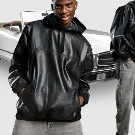 エイソス ASOS asos ASOSDESIGNオーバーサイズのフェイクレザーパーカー(ブラック) トップス メンズ 男性 インポートブランド 小さいサイズから大きいサイズまで