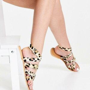 エイソス ASOS asos ASOS DESIGN レオパード ワイド フィット フィオン レザー グラディエーター サンダル 靴 レディース 女性 インポートブランド 小さいサイズから大きいサイズまで