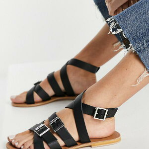 エイソス ASOS asos ASOS DESIGNFionレザーグラディエーターサンダルブラック 靴 レディース 女性 インポートブランド 小さいサイズから大きいサイズまで