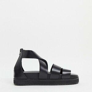 エイソス ASOS asos ASOS DESIGNグラディエーターサンダル、ブラックレザー、チャンキーソール 靴 メンズ 男性 インポートブランド 小さいサイズから大きいサイズまで