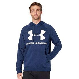 アンダーアーマー Under Armour スポーツ パーカー フーディ— ネイビー ホワイト ロゴ 大きいサイズあり 流行 最新 メンズカジュアル ファッション フィットネス