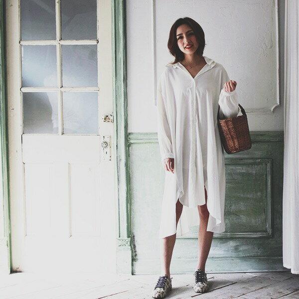 シャツワンピース 薄手 ブラウスワンピース フレア ゆったり 体型カバー 長袖 レディース 女性 大人可愛い 大人カジュアル 20代 30代 40代 セレクトショップDIVA 韓国ファッション