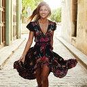 【ロングドレス】【半袖 袖付き】【花柄/フローラルプリント】パーティードレス サマードレス 30代 結婚式 20代 ロングドレス タッセル Vネック ワンピース 大きいサイズ お呼ばれ 二次会 20代