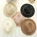 パールが散りばめられた 麦わら帽子 大きいサイズ 帽子 麦わら 帽子 UV対策 紫外線対策 日焼け対策 ビーチ プール 海外 夏 春 秋 レデ…