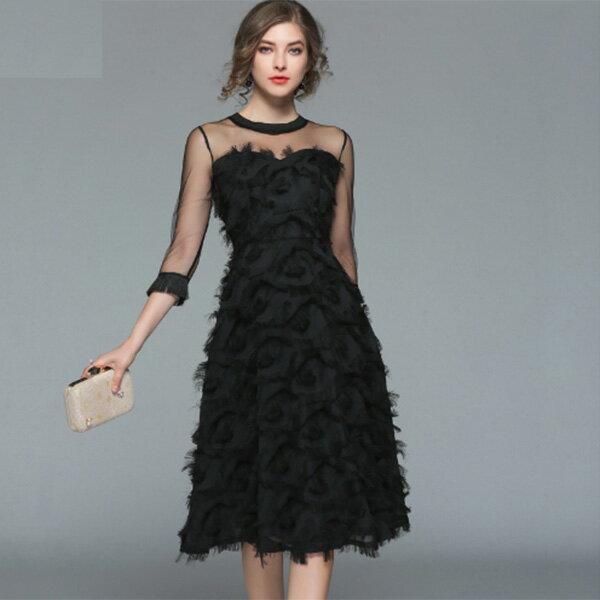 フェザーシフォン シースルー 袖フリンジ パーティードレス 大きいサイズ 結婚式 20代 30代 40代 フォーマルワンピース ドレス お呼ばれ 二次会 フレア Aライン 大人可愛い 袖付き ミディアムドレス S〜XL 上品 フォーマルドレス diva 小さいサイズあり