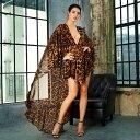 袖あり ドレス マント ケープ シフォン レオパード柄 ヒョウ柄 ショートドレス ワンピース パーティードレス 大きいサイズ 結婚式 20代…