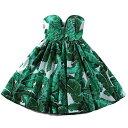 花柄 ストラップレス コルセット ストラップ 袖なし ドレス パーティードレス ドレスワンピース ショートドレス レディース 大人可愛い…
