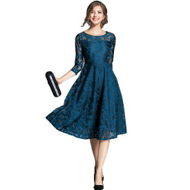 オリエンタル柄 シースルー パーティードレス 大きいサイズ 結婚式 20代 30代 40代 フォーマルワンピース ドレス お呼ばれ 二次会 フレア Aライン 大人可愛い 袖付き ミディアムドレス S〜XL 上品 フォーマルドレス diva 小さいサイズあり