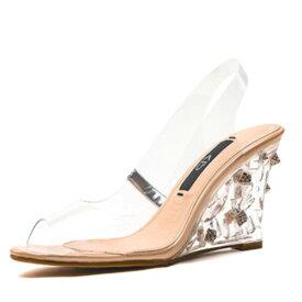 クリア パンプス オープントゥー つっかけ 靴 ウェッジソール ビジュー 走れる 痛くない ローヒール 歩きやすい かかとなし つっかけ 大人可愛い カジュアル トレンド フェス 20代 30代 40代 レトロ 海外 レディース diva 春夏秋冬