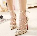 結婚式 パンプス パーティー 靴 大きいサイズ レースアップ/カットアウト/パンプス/ブラック/ベージュ fs01gm 靴 キャバ イベント レト…