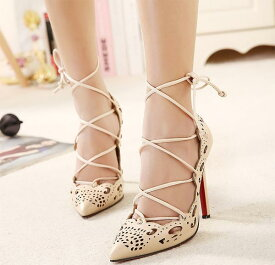 結婚式 パンプス パーティー 靴 大きいサイズ レースアップ/カットアウト/パンプス/ブラック/ベージュ fs01gm 靴 キャバ イベント レトロ パーティー