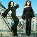 袖付き パンツドレス フレア袖 ブーツカット ブラック 大きいサイズ fs01gm タイト パーティードレス 袖あり 結婚式 お呼ばれ フォーマ…