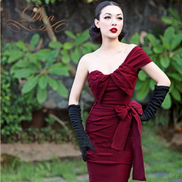 パーティードレス 大きいサイズ パーティードレス 結婚式 20代 パーティードレス 30代 ワンピース ドレス お呼ばれ 二次会 ワンショルダー リボン ミディアムドレス ワインレッド 大きいサイズ オードリー コーデ ファッション タイト レトロ上品 被らない