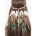 フェザー 羽 ヘッドバンド フェス インディアン ヘアバンド ヘッドドレス ヘアアクセサリー ウルトラジャパン ボヘミアン 衣装 フェス …