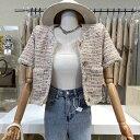 ツイード風 半袖 ブレスト ジャケット blazer 韓国ファッション  カジュアル レトロ  パーティー お呼ばれ 二次会 結婚式…