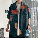 ハワイ 花柄 プリント ユニセックス シャツ 大人 カジュアル 半袖 シャツ お兄さん 清楚 スタイリッシュ スタイル ストリ…