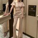 フレア袖 背中開き リボン ワイドパンツ パンツドレス セットアップ 上下 半袖 レディース カジュアル キャバ イベント レトロ 韓…