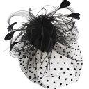 ヘッドドレス ウェディングヘッドドレス ドットベール チュール 羽 フェザー ミニ ハット帽風 ヘッドドレス ブラック …