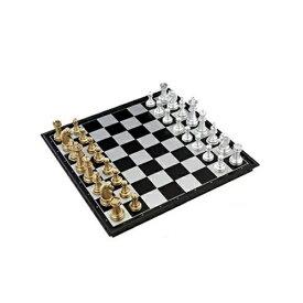 豪華なボードゲーム 金と銀のチェス 約32cm×32cm 大判サイズ マグネット式で外でも遊べます 一式セット 遊戯 チェス盤 ゴールド シルバー 持ち運び