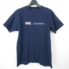 16SS SOPHNET. ソフネット SOPH ソフ VANS バンズ S/S TEE コットン 半袖 ロゴ Tシャツ カットソー NAVY L 【中古】 DN-11130