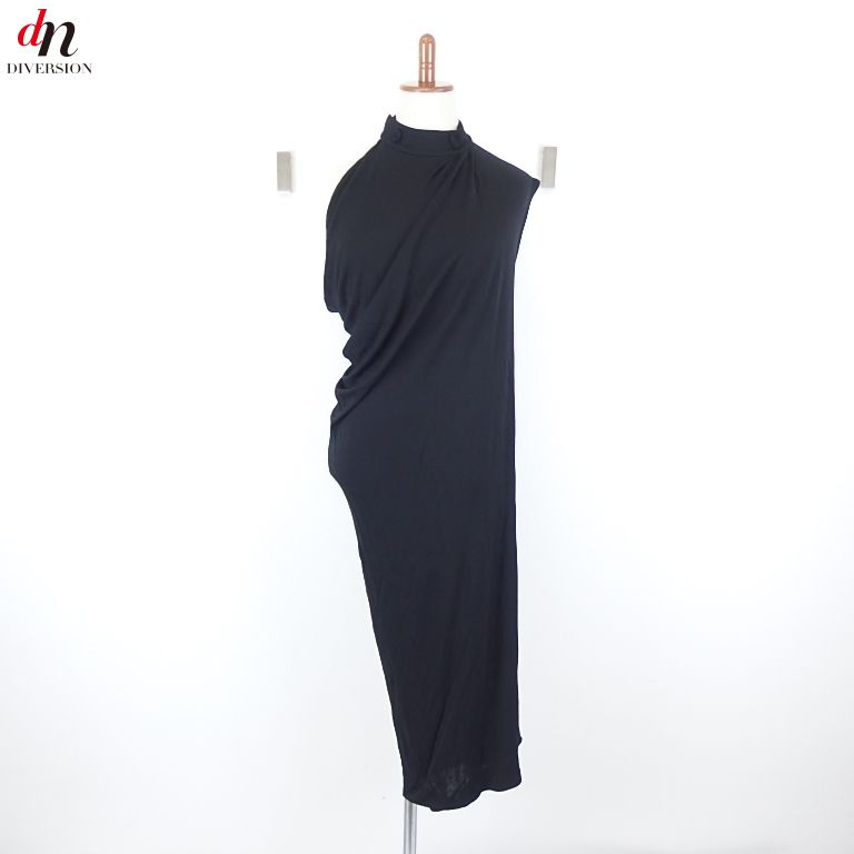 HERMES エルメス 変形 アシンメトリー ノースリーブ ロング ドレス ワンピース BLACK40 【中古】 DN-4486