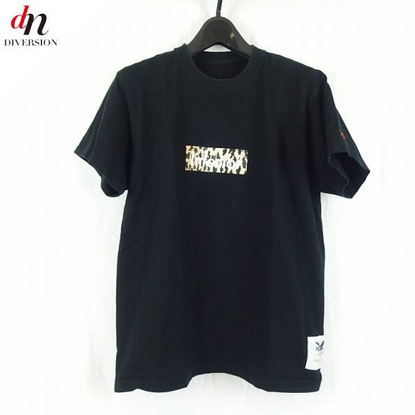 MARK MCNAIRY FOR HEATHER GREY WALL マークマクナイリー Inferior PRINT S/S TEE レオパード柄BOXロゴ Tシャツ BLACK M 【中古】 DN-4994