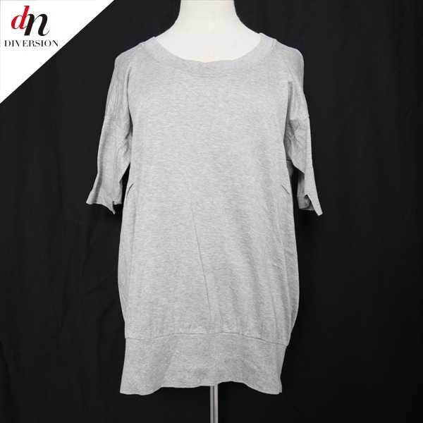 ZUCCa ズッカ コットン 半袖 無地 ロング カットソー Tシャツ GRAY M 【中古】 DN-8506