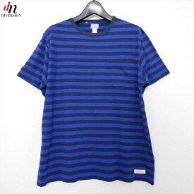 DELUXE デラックス コットン 半袖 ボーダー ポケット TEE Tシャツ カットソー BLACK/BLUE XL 【中古】 DN-8529