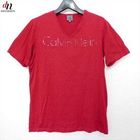 Calvin Klein カルバン クライン コットン 半袖 Vネック ロゴ TEE Tシャツ カットソー RED L 【中古】 DN-8643