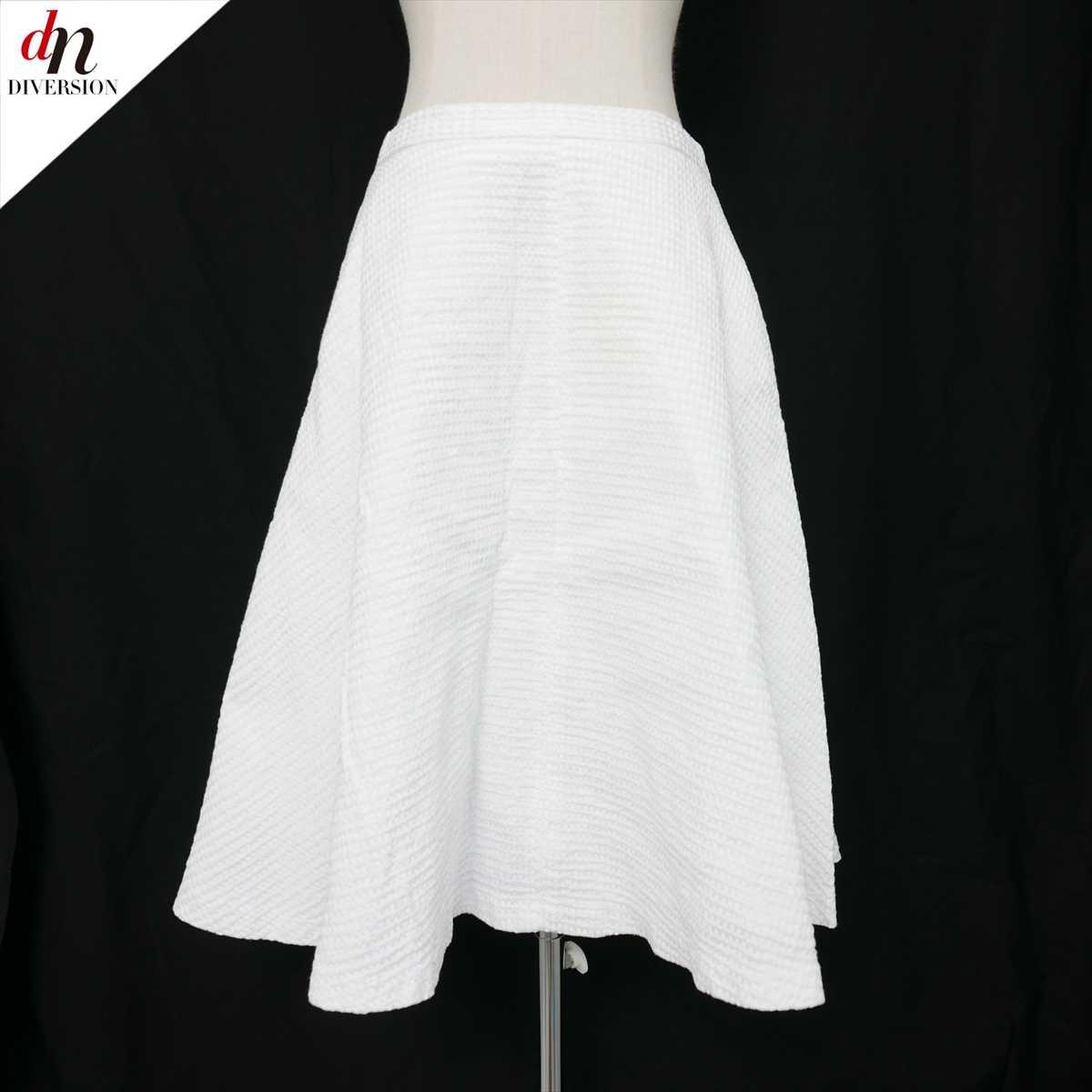 ZARA BASIC ザラ 膝丈 無地 ワッフル フレアスカート WHITE USA M 【中古】 DN-8919