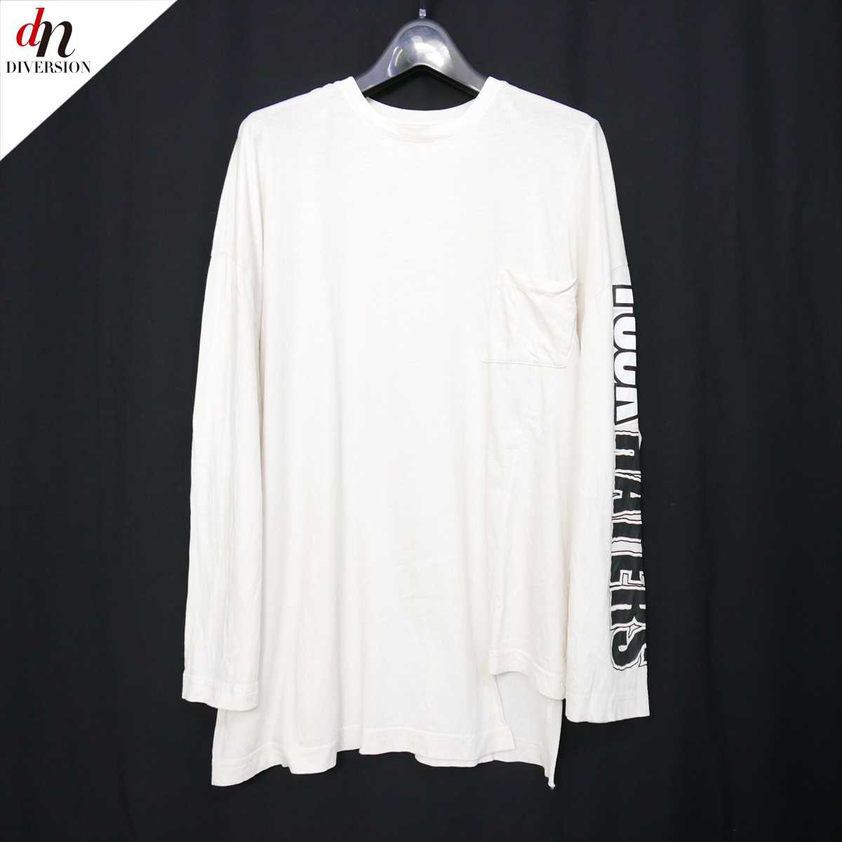WILLY CHAVARRIA ウィリーキャバリエ LS PANEL TEE ロングスリーズ Tシャツ FUCK HATERS プリント アシンメトリー クルーネック MATERIAL S 【中古】 DN-9288