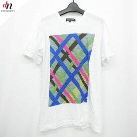16SS AD2015 COMME des GARCONS HOMME DEUX コムデギャルソン オムドゥ チェック転写プリント Tシャツ WHITE M 【中古】 DNS-0938