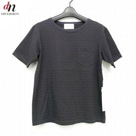 【未使用品】 16AW The Letters ザ レターズ Crash Border Pocket T-Shirt. クラッシュ ダメージ加工 半袖 ボーダー ポケット Tシャツ BLACK/CHARCOAL M 【中古】 DNS-3971