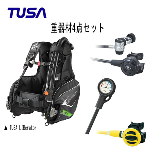TUSA(ツサ) BCs レギュレーター オクトパス ゲージ 重器材4点セット (LIBerator(リブレータ) BC0103B レギュレータ— RS1103J オクトパス SS-20 残圧計 SCA-150J) メンズ レディース 男女兼用 ダイビング・メーカー在庫確認します