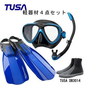 TUSA(ツサ) 軽器材4点セットフリーダムワンマスク ブラックシリコン M-211QBUS-TUSA プラチナ2 スノーケル スノーケル SP0101リブレーターテン フィンロングブーツスキューバダイビング・シュノ