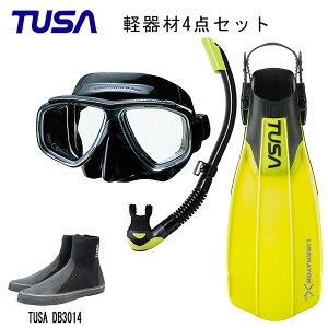 TUSA(ツサ) 軽器材4点セットスプレンダイブ2 ブラックシリコン M-7500QBUS-TUSA プラチナ2 スノーケルリブレーターテンロングブーツスキューバダイビング・シュノーケリング