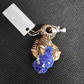 アズライト原石ドゥルージー イーグルの爪ペンダント 世界に一点の身に着けられるアートジュエリー ネックレス