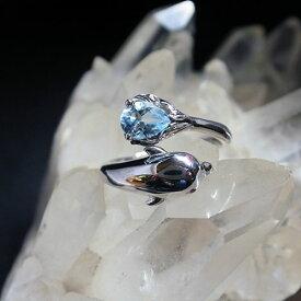 アクアマリン ドルフィン スターリングシルバーリング イルカの指輪