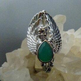 天然AAAクリソプレーズ 天使のスターリングシルバーペンダントトップ エンジェルが抱く宝石 ジュエリー