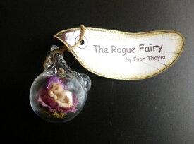 マイクロミニチュア とっても小さなフェアリーベイビー in グラスボールペンダント♪パープルフラワー妖精ジュエリー