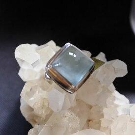 大粒アクアマリンジェムストーン スターリングシルバーリング17号指輪 ホワイトトパーズジェムストーン