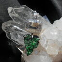 グリーンガーネット/ウバロバイトガーネットドゥルージー原石、クリアクォーツ大粒宝石ネックレス☆スターリングシル…