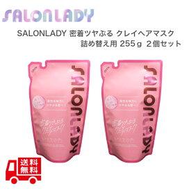 【2個セット】 SALON LADY サロンレディ 密着ツヤぷるクレイヘアマスク つめかえ 230g おうちdeサロン体験 ヘアパック ダメージケア うねり・クセ毛抑制 ピンククレイ配合