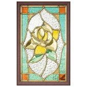 ステンドグラス壁掛け薔薇フレーム:ブラウン(SH-PS01)幅221×高さ343mmミラーステンドグラス額付き