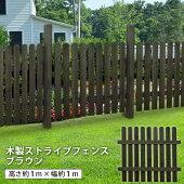 フェンス縦格子幅97cmダークブラウン木製ストライプフェンスナイル※支柱別売り